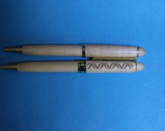 DNA Double Helix Pen Laser Engraved Maple or Rosewood