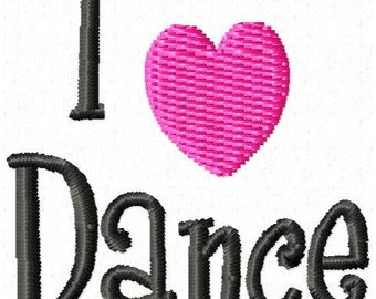 I Love Dance Machine Embroidery Design Mini