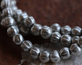 SILVERED MELONS .. 50 Picasso Czech Melon Beads 4mm (6000-st)