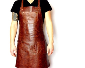 Leather apron, custom aprons, mens apron, womens apron, men clothing, leather accessories, handmade apron, cafe apron, barista apron
