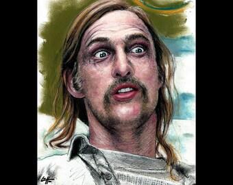 "Prints 8x10"" - Rust Cohle - True Detective - Marty Hart Matthew McConaughey Woody Harrelson Dark Art Horror Pop Lowbrow Crime Mustache Beard"
