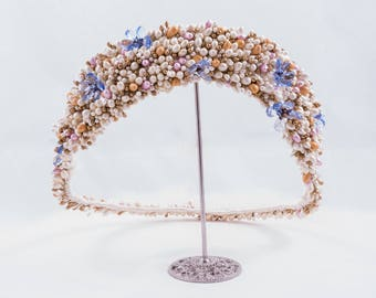 Bridal headpiece. Pistils of porcelain Crown. Broken wedding ring. Wedding tiara.