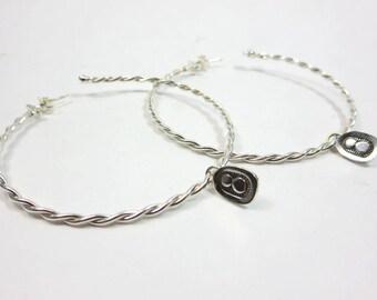 Light Weight Hoop Earrings. Solid 925 Sterling Silver, 18 gauge twisted wire. Sterling silver charm earrings, hoop, dangle earrings.
