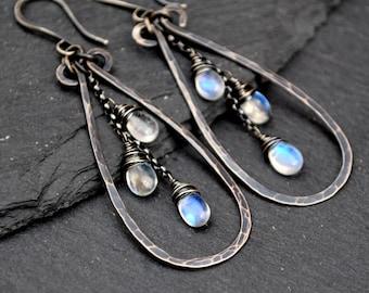 Rainbow Moonstone Earrings, Long Blue Flash Moonstone Dangles, Artisan Hammered Silver Teardrop Earrings, Boho Luxe Moonstone Jewelry