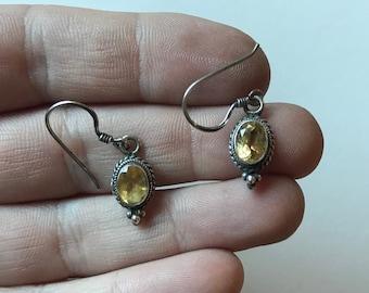Vintage Sterling Silver Citrine Dangle Earrings