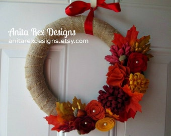 Fall Wreath, Burlap Wreath, Fall Burlap Wreath, Leaves Wreath, Red, Orange, Yellow, Ruby Felt Flower Wreath, Fall Decor