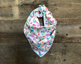 Bright Multi Colored Paint Petals Tie On Dog Bandana