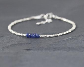 Blue Sapphire & Sterling Silver Bracelet. Burma Sapphire Bracelet. Dainty Beaded Bracelet. Delicate Stacking Bracelet. Gemstone Jewelry