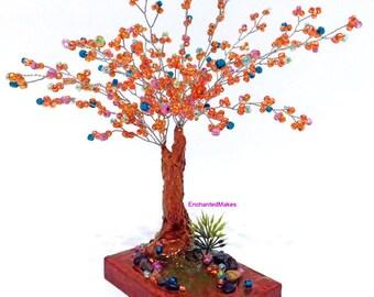 Orange Beaded Wire Tree | Beaded Bonsai Tree | Wire Tree Sculpture | Miniature Tree Fairy Garden