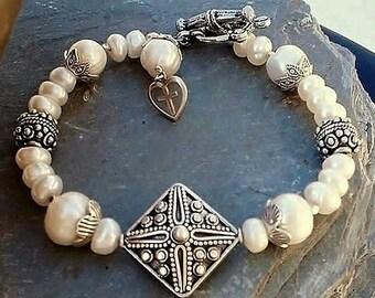 Freshwater Pearl Bracelet Bali Sterling Silves Heart Cross charm