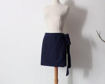 navy cotton mini wrap skirt ready to wear / mini wrap skirt / deep blue wrap skirt / ready to ship / minimalist wear / mini skirt