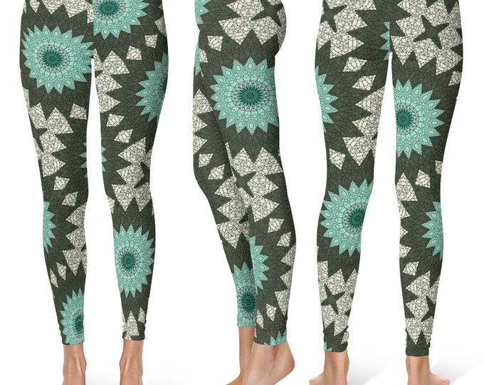 Bold Leggings Yoga Pants, Mandala Printed Yoga Tights for Women, Festival Clothing, Burning Man