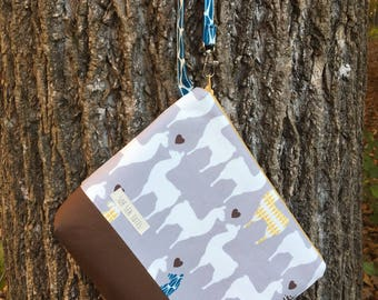 Large zippered pouch, llamas and brown