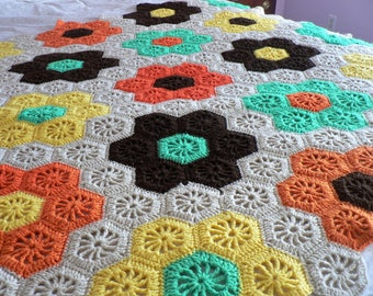 Vintage Granny Square Blanket Throw Floral Beige Brown Orange Green Yellow Crochet Throw - Fall Harvest Colors