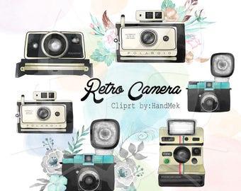 Retro camera, water color camera clipart  instant download PNG file - 300 dpi.