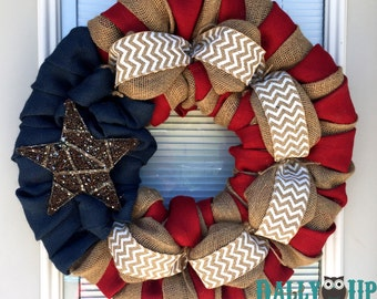 Best Seller - Burlap Wreath - 4th of July - White Chevron, Red, Natural and Blue Burlap -  Fourth of July  - Burlap Wreath Decor