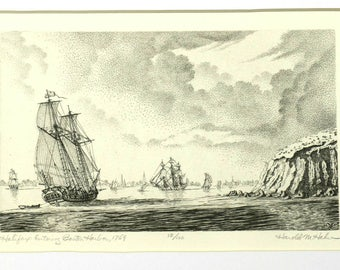 Halifax Entering Boston Harbor, 1769 etching by Harold M. Hahn.
