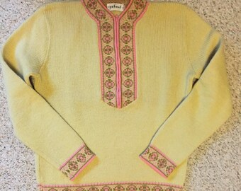 Vintage 1960s Womens Ski Sweater - Size Medium - Light Yellow Green - Pink - Olive Green - Zip Front Vintage Sweater - Perfect condition