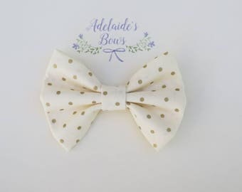 Gold dotted Hair Bow