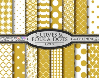 Gold Polka Dot Digital Paper - Gold Quatrefoil Digital Paper with Printable Gold Pattern Backgrounds - Instant Digital Download Backdrops