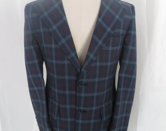 Vintage 70s mens sportscoat jacket sportjacket, blazer, suit jacket, blue red plaid