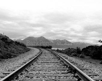 Alaska Railroad; Black and white; train tracks; Mountains; Poster; Wall art; Bedroom; bathroom; living room; industrial