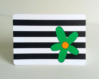 Black and White Note Card with Flower, Set of 8 black and white stripes with bright stylized flower accent thank you card
