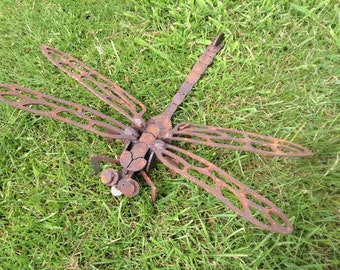 Rusty 3D Dragonfly / 3D Metal Dragonfly / Dragonfly gift / Rusty Metal Dragonfly / Garden art / Garden Decor / Giant Dragonfly / Metal Art
