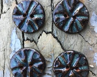 Handmade Ceramic Buttons. Set of 4