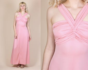 70s Grecian Maxi Gown - XS // Vintage Pink Floor Length Disco Prom Dress