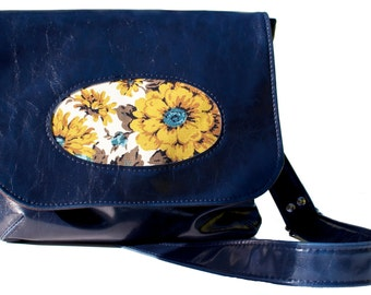 Vegan Porthole Handbag with Adjustable Strap, Navy Faux Leather, Make To Order -Not in Stock