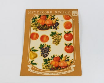 1950s Fruit Decals from Meyercord Decals USA - Fruit Bowl Decorations Grapes Pears Apples