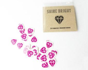 Diamond Temporary Tattoos, Hot Pink, Diamond Engagement Ring Tattoo Tatts, Bachelorette Tattoos, Party Favors, Wedding Favor