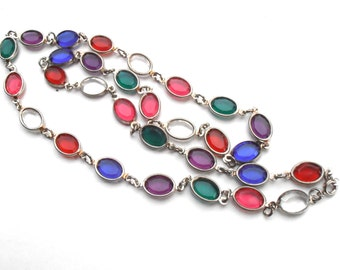Vintage Gemstone Color Bezel Kaleidoscope Necklace Red Green Blue Acrylic Oval Light Silver Tone Villacollezione 24.25 Inches Long Jewelry