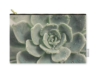Succulent Clutch, Laptop Bag, Make Up Storage, Accessory Bag, Cosmetic Pouch, Bridesmaid's Gift Nature, blue, green, grey, gray -NO. 1244