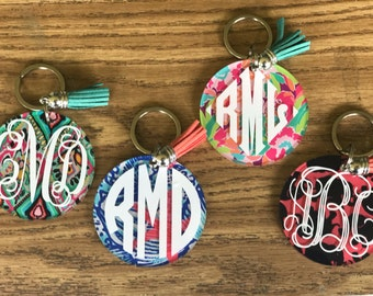 Lilly Inspired Key chains, Key chains, Personalized Monogram Key chains