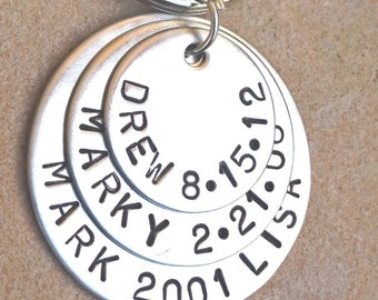 Gifts For Dad, Gifts For Boyfriend, Gifts For Him, Father's Day Gifts, Natashaaloha, Personalized Hand Stamped Keychain, Natashaaloha
