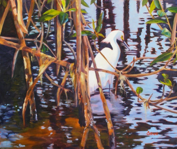Giclee On Stretched Canvas Egret In Mangroves