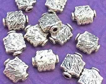 10 Flared Square Flat Spacer Beads, Antiqued Silver Tone, About 10mm x 8mm with a 1.6mm hole - TS847B