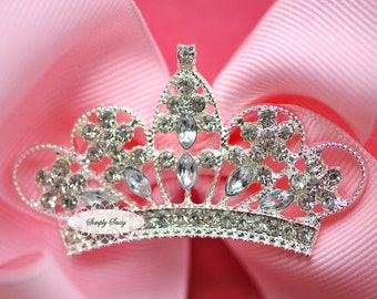 10pcs CLEAR Rhinestone Crystal Tiara Crown Flatback Metal Brooch Embellishment Adornment - Add a Pin Clip to Favors Invitations Frames