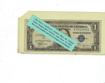 1935 b silver certificate one dollar bill  blue seal