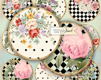 Alice Garden - 2.5 inch circles - set of 12 - digital collage sheet - pocket mirrors, tags, scrapbooking, cupcake toppers