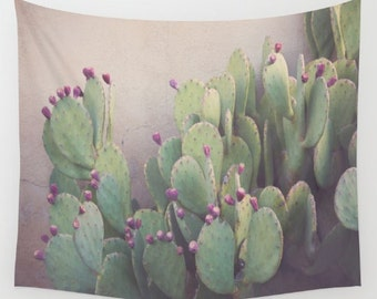 cactus wall tapestry, prickly pear, cactus photography, dorm decor, desert decor, cactus decor, wall tapestries, nature photography, west