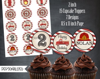Fire Truck Cupcake Toppers, Fire Truck Favors, Firefighter Tags, Fire Engine, Birthday, Party, Personalized, Printables, Digital, DIY
