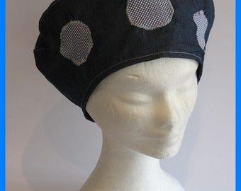 beret Basque blu, women, teens, girls, spring summer, blu cotton with smal flowers