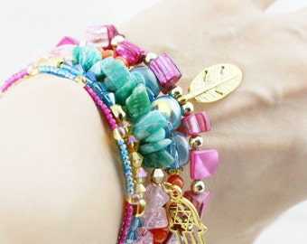 Joyous 5 tiers bangle (MW revised version) - dyed jade, and amazonite