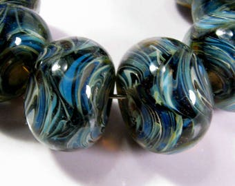 Lampwork Boro Beads, Lampwork Beads, Glass Beads, BBGLASSART - Midnight Tide Prisms