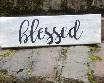 Blessed Block Sign Home Decor, Gray