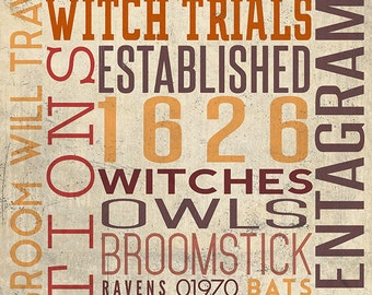 Salem, Massachusetts - Typography (Art Prints available in multiple sizes)