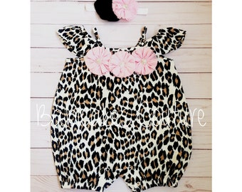 Newborn Baby Girl Outfit, Leopard Baby Romper, Leopard Bubble Romper, Baby Girl Romper, Fancy Baby Outfit, Newborn Girl Romper, Summer Baby